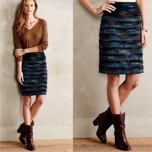 NEW Anthropologie Maeve Feathered Pencil Skirt